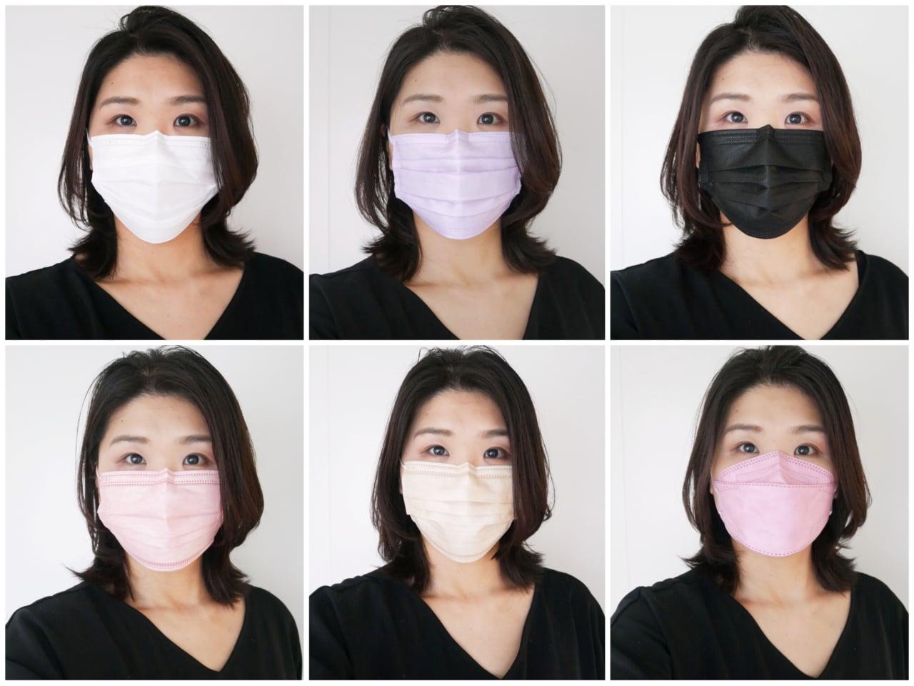 不織布マスク カラー 着け比べ 似合う色 小顔マスク