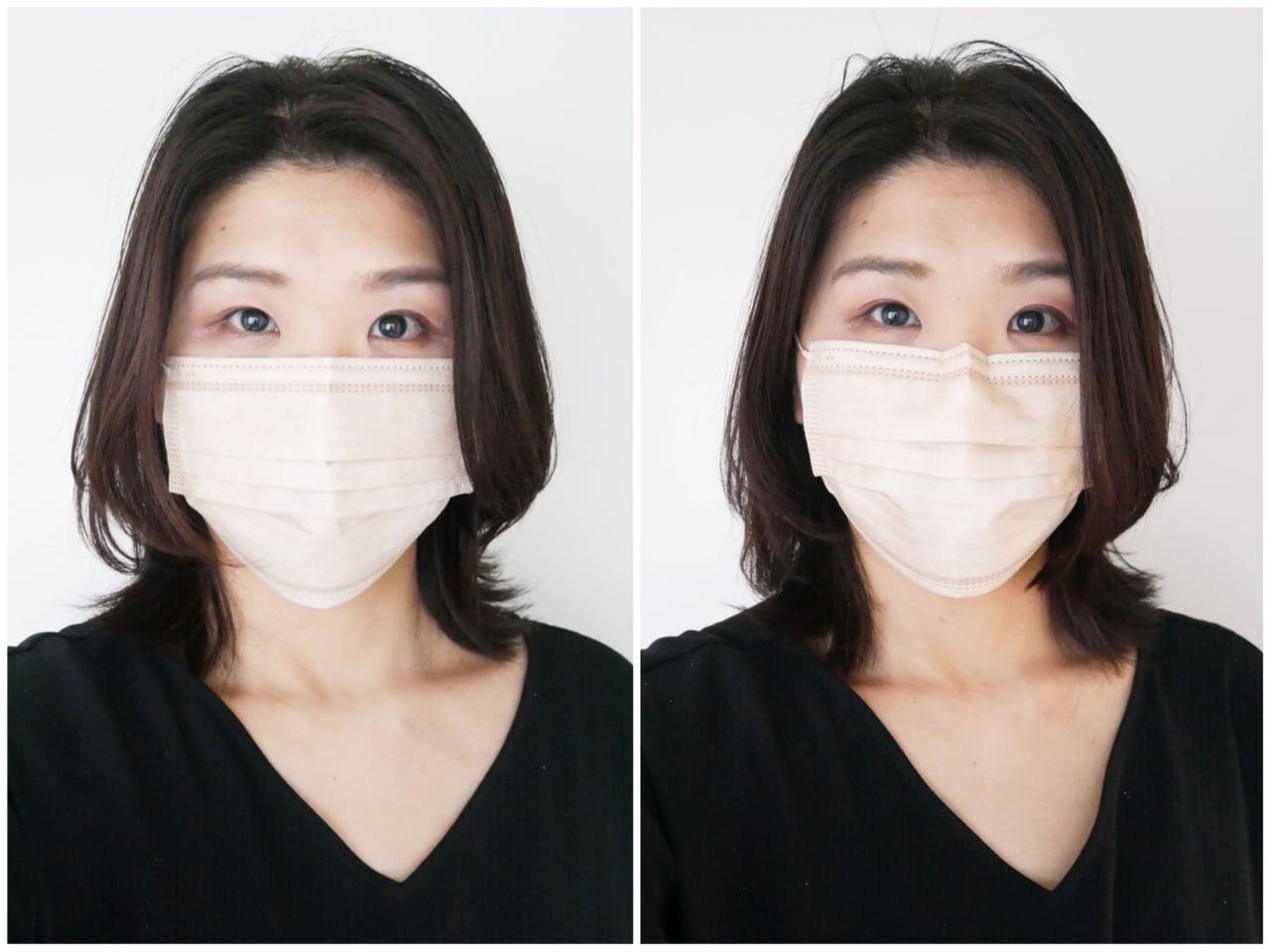 マスクの正しいつけ方 鼻筋が通って見える